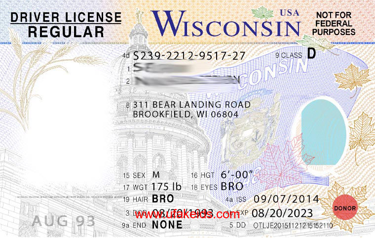Wisconsin Fake ID Template